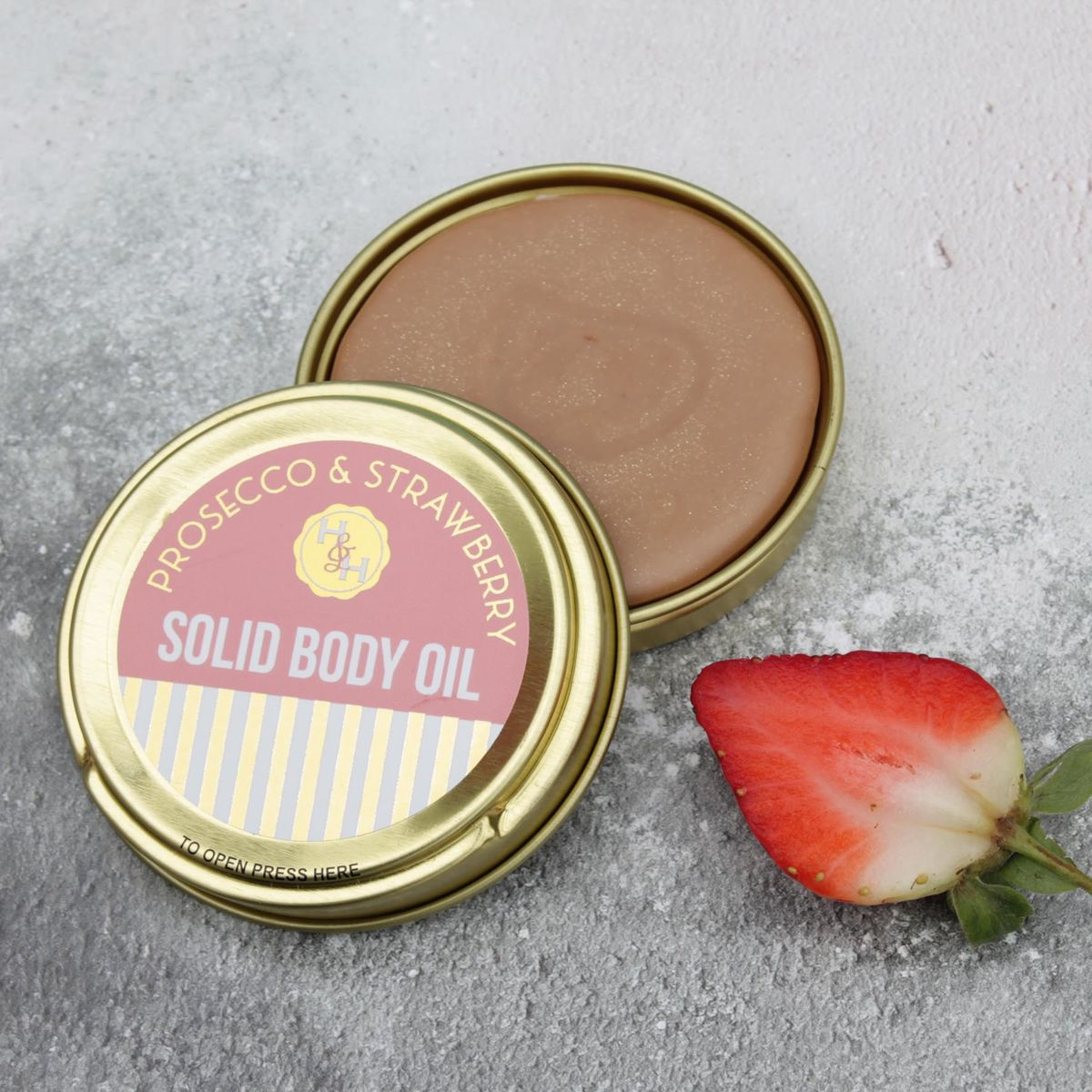 Prosecco & Strawberry Solid Scented Body Oil - product images  of