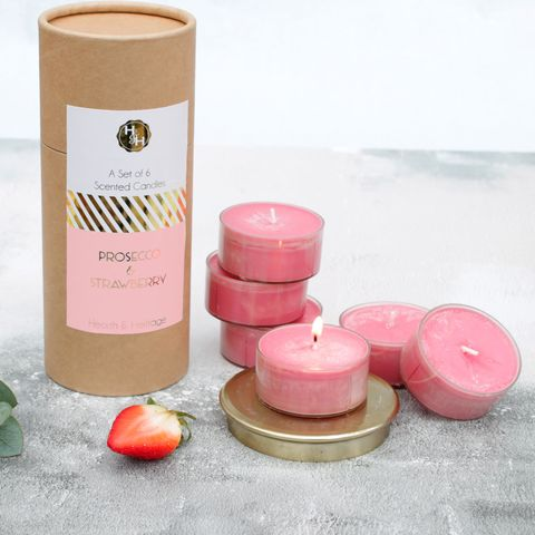 A,set,of,6,Prosecco,&,Strawberry,scented,and,coloured,candles.,prosecco candles, pink candles, fizz candles, champagne candles, mothers day gift for mum, gift for mum, strong scented candles, bougie perfumerie, candles