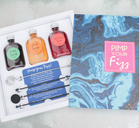 Pimp,Your,Fizz,Cocktail,Mix,Set,cocktail mix; cocktail gift set; fizz gift; gift for prosecco lover. cocktail mix gift set; pimp your fizz gift set; make your own cocktails; champagne cocktail kit