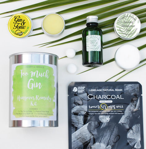 Too,Much,Gin,Recovery,Kit,in,a,Tin,hangover kit; recovery kit; pamper kit; too much gin gift; beauty pamper kit in a tin; gin themed beauty gift; bath and beauty gift.