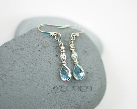 Wire,Wrapped,Blue,Topaz,Earrings,with,White,Zircon,Gemstone,Sterling,Silver,Long,Dangly,Jewelry,Genuine_Gemstone,earrings,Blue_Topaz,blue_topaz_earrings,Diamond_White,Sterling_Silver,Handmade,Wire_Wrap_Earrings,gemstone_earrings,wire_wrapped,solid sterling silver,hand forged sterling silver earwires,half carat tw