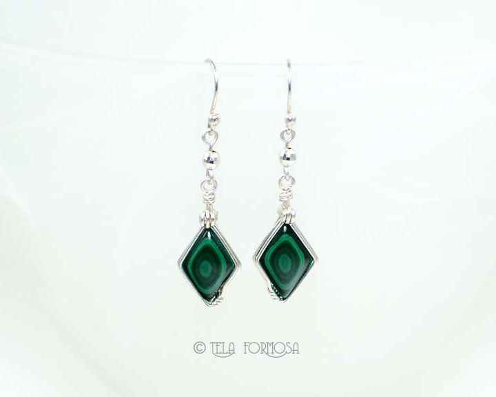 wire wrapped matched bulls eye malachite earrings green stone sterling silver handmade