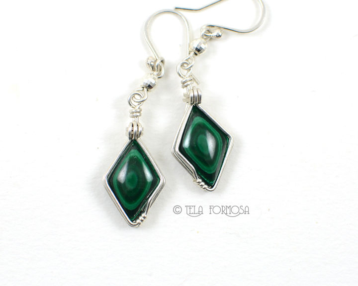 stone diamond rhodium colored green earrings