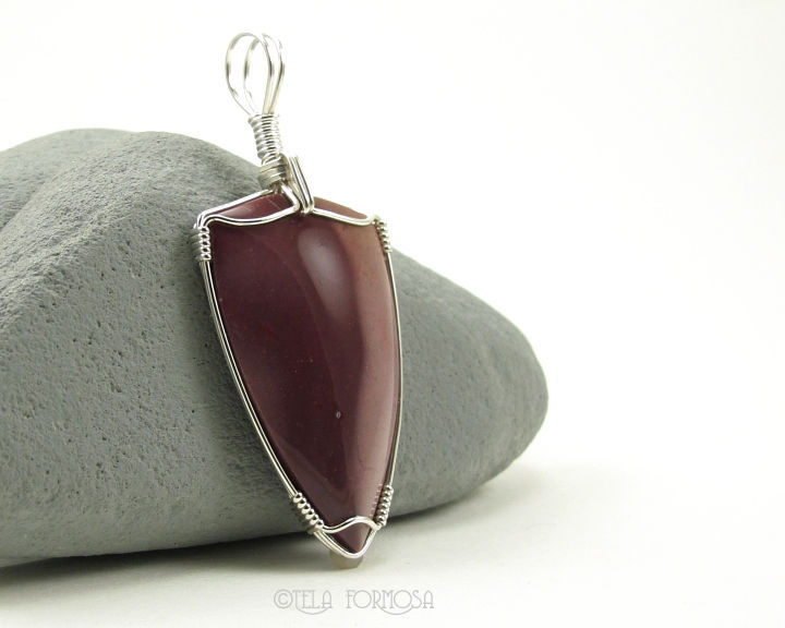 Wire Wrapped Mookaite Pendant Mookite Purple Lavender Natural Stone Sterling Silver - product images  of