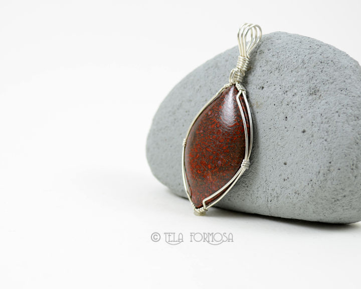 UNISEX MENS Red Dinosaur Bone Pendant Natural Stone Cabochon Silver Wire Wrapped Handmade - product images  of