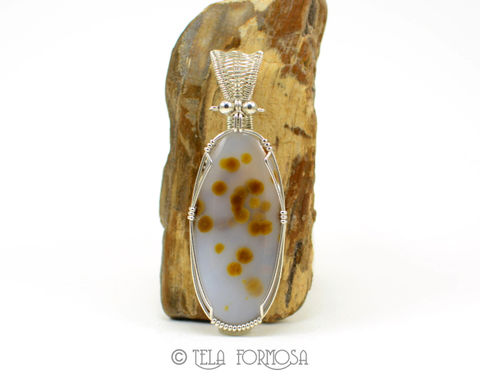 Blue,Ice,Polka,Dot,Agate,Pendant,Yellow,Dots,Natural,Stone,Cabochon,Wire,Wrapped,Woven,Bail,Jewelry,Blue_Ice,Polka_Dot_Agate,agate_Pendant,polka_dot,Blue_Stone,blue_stone_pendant,Natural_Stone,stone_cabochon,Cabochon_Pendant,Handmade,yellow,woven_bail,wire_wrapped_pendant,natural stone cabochon,Sterling Silver Wire,Rare Priday Blue Ice