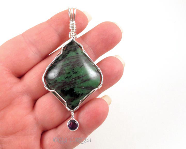 Natural Two Stone Pendant Green Zoisite Red Ruby Purple Amethyst Sterling Silver Wire Wrapped - product images  of