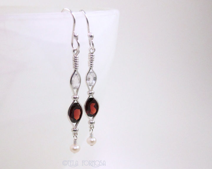 Wire Wred Natural Gemstone Garnet Earrings Zircon Pearl Handmade Silver Long Red Product Images