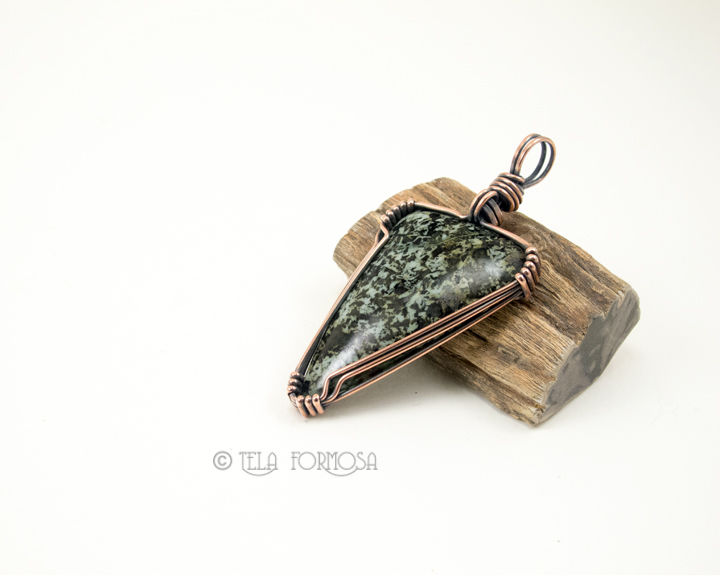 Wire Wrapped Blue G Lawsonite Pendant Black Blue Green Natural ...