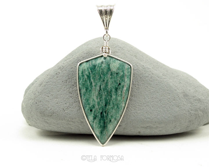 Mariposite Pendant Natural Green Stone Handmade Sterling Silver - product images  of
