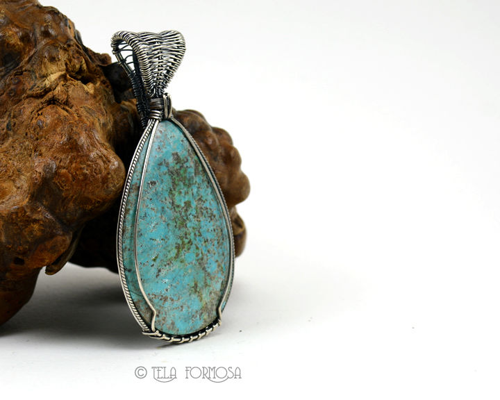 Easter Blue Gem Natural Turquoise Pendant Blue Stone Sterling Silver Cabochon Pendant Weave - product images  of