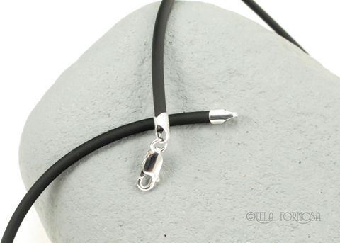 High,Quality,Heavier,3mm,Black,Rubber,Cord,Necklace,16,,18,,20,,24,Sterling,Silver,3mm Black Rubber Cord Necklace,16, 18, 20, 24, Sterling Silver, Lobster Claw Clasp, Black Cord necklace, cord necklace, Italy