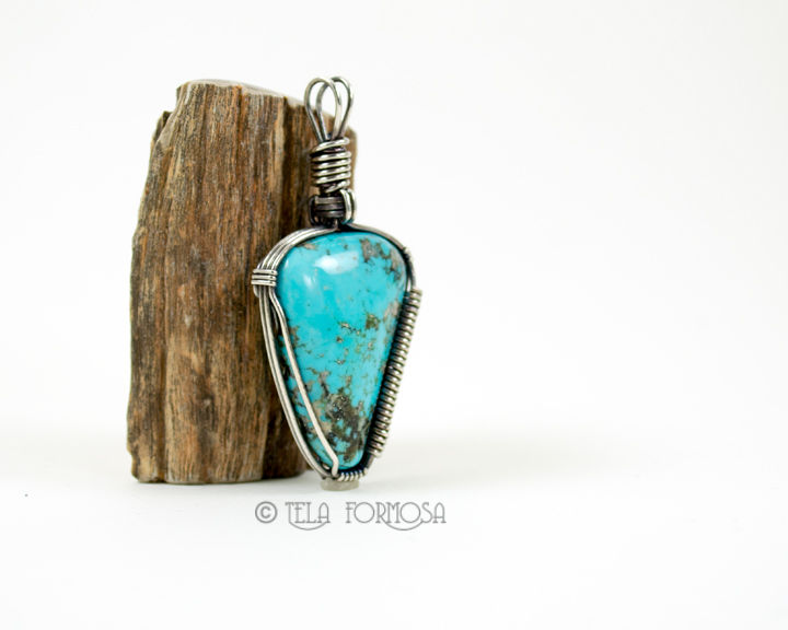 Rare Nacozari Turquoise Pendant Blue Stone Wire Wrapped in Antiqued Sterling Silver  - product images  of