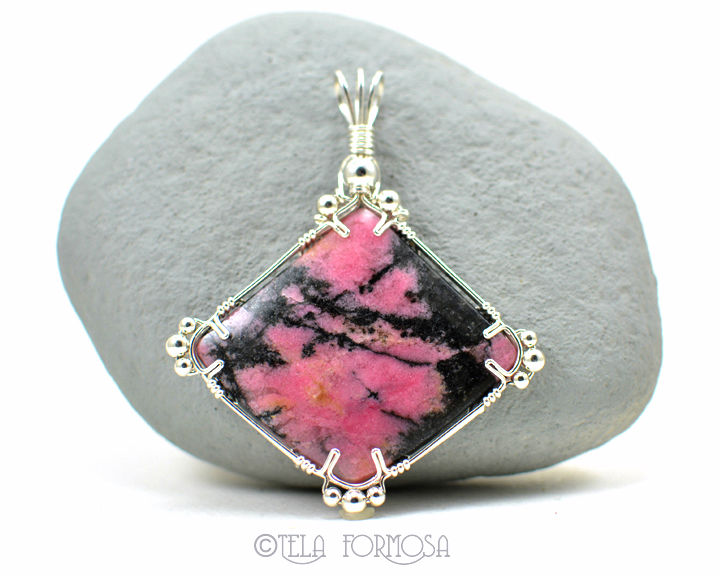 Statement Piece Rhodonite Pendant Black and Pink Natural Stone ...