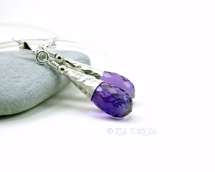 36 cttw Wire Wrapped Amethyst Earrings Genuine Gemstone Briolette Sterling Silver Leverbacks - product images  of