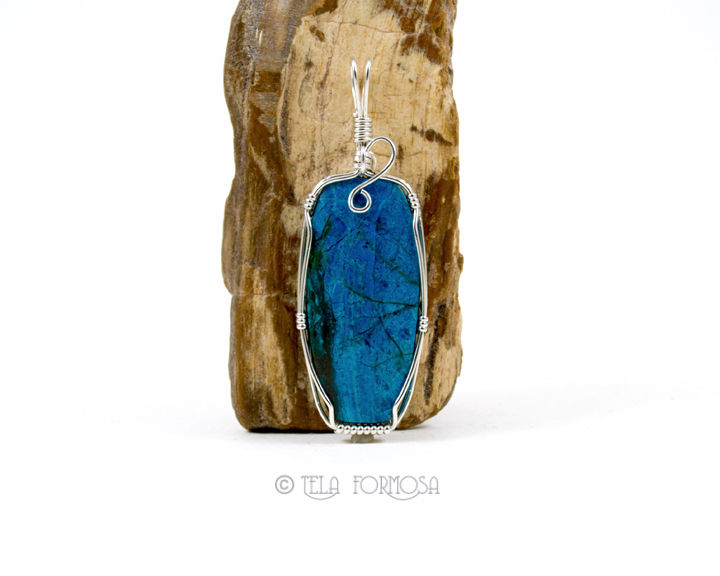 Wire wrapped morenci chrysocolla pendant handmade blue natural stone wire wrapped morenci chrysocolla pendant handmade blue natural stone sterling silver mozeypictures Images