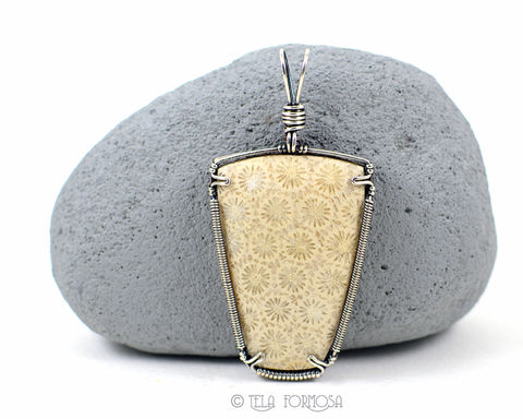White,Petrified,Coral,Pendant,Natural,Fossil,Stone,Cabochon,Sterling,Silver,Wire,Wrapped,Jewelry,Indonesian,Petrified_Coral,coral_Pendant,Agatized,natural_stone,stone_Cabochon,cabochon_Pendant,Sterling_Silver,Handmade,fossil,wire_wrapped_pendant,winter_white,white,natural stone cabochon,sterling silver wire,Indonesian Petrified Coral