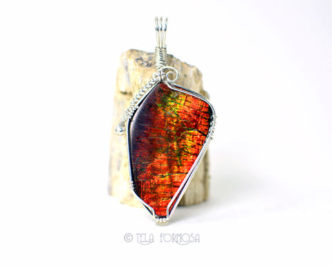 Large,Color,Change,Ammolite,Pendant,Red,Green,Orange,Natural,Stone,Sterling,Silver,Wire,Wrapped,Jewelry,Ammolite_Pendant,ammolite,orange,yellow,Natural_Stone,stone_Pendant,Cabochon_Pendant,Sterling_Silver,Handmade,color_changer,Tela_Formosa,wire_wrapped,wire_wrapped_jewelry,wire work