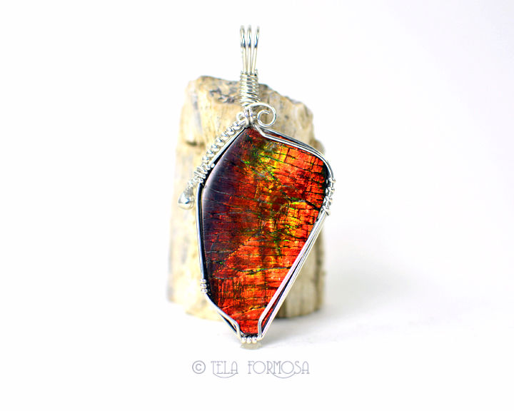 Large Color Change Ammolite Pendant Red Green Orange Natural Stone Sterling Silver Wire Wrapped - product images  of