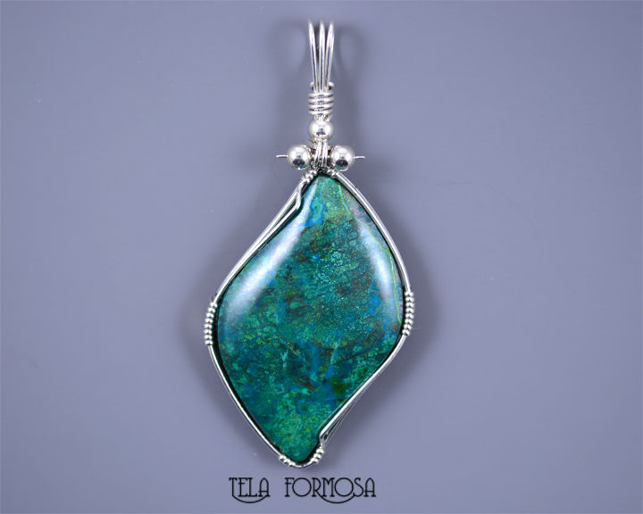 Rare parrot wing chrysocolla pendant parrotwing sterling silver rare parrot wing chrysocolla pendant parrotwing sterling silver wire wrapped jewelry handmade product images of mozeypictures Image collections