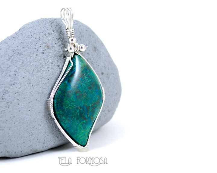 Rare Parrot Wing Chrysocolla Pendant Parrotwing Sterling Silver Wire Wrapped Jewelry Handmade - product images  of