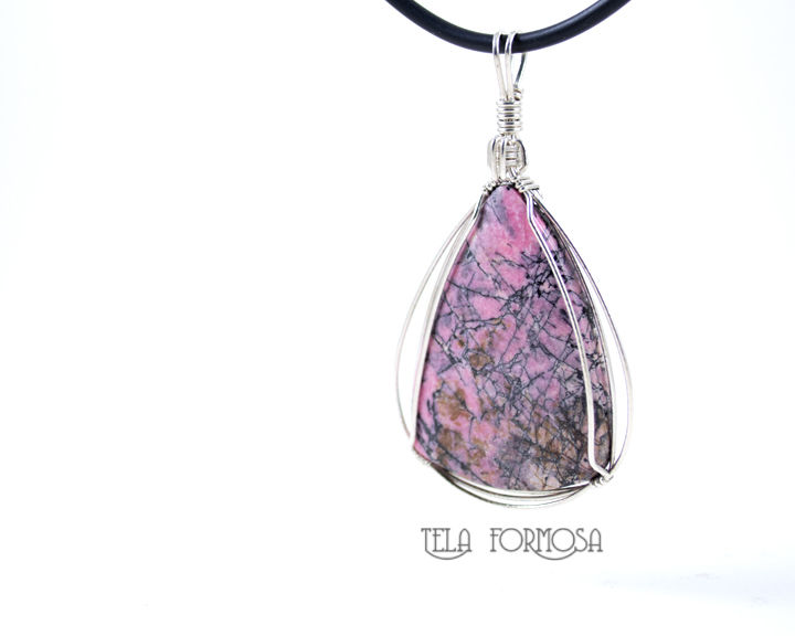 Spiderweb Rhodonite Pendant Pink and Black Natural Stone Cabochon Sterling Silver Wire Wrapped - product images  of