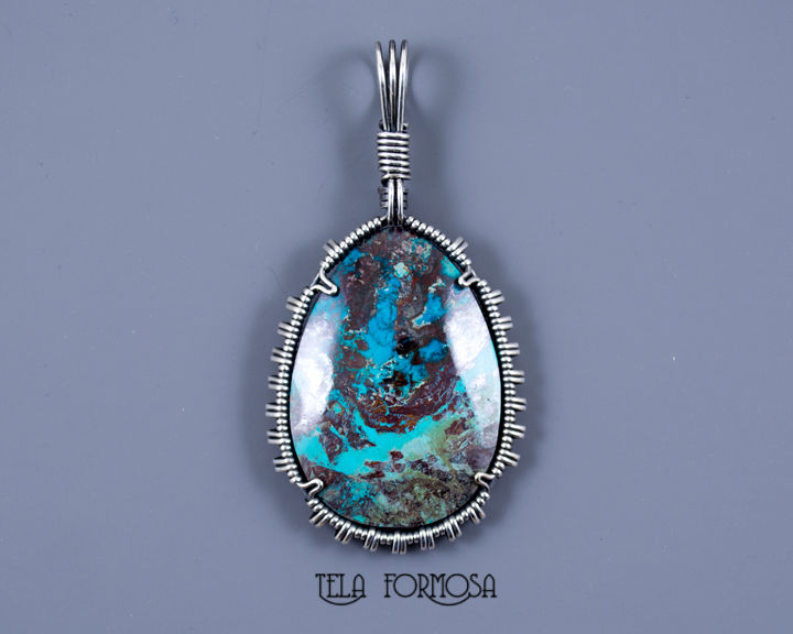 Tonopah Royston Turquoise Pendant Natural Stone Cabochon Wire Wrapped Sterling Silver - product images  of