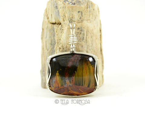 Rare,Brockman,Marra,Mamba,Tiger's,Eye,Pendant,Very,Chatoyant,Wire,Wrapped,in,Sterling,Silver, Brockman, Marra Mamba, Tiger's Eye, marra mamba pendant, marra mamba tiger eye, brackman tiger eye, Chatoyant, Wire Wrapped, Sterling Silver,