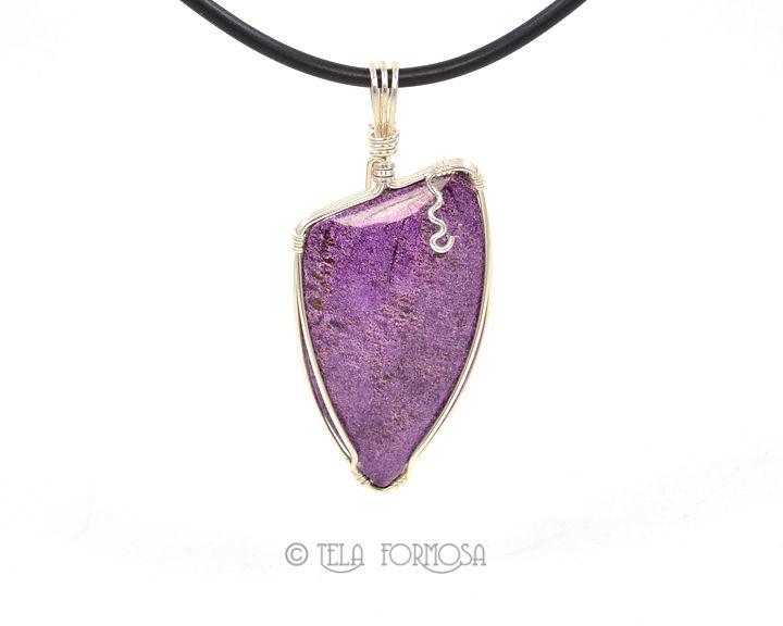 Rare Purple Stichtite Pendant Sterling Silver Wire Wrapped Cabochon ...