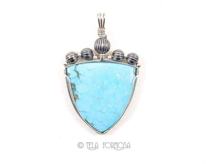 Natural Waterweb Birds Eye Kingman Turquoise Pendant Sterling Silver Wire Wrapped Handmade - product images  of