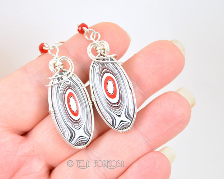 Fordite Earrings Red Black White Bulls Eye Sterling Silver Wire Wrapped Cabochon - product images  of