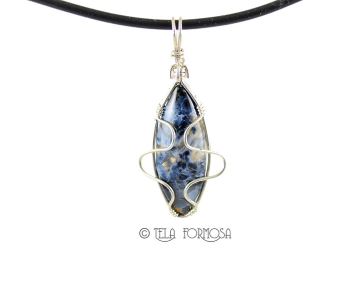 African Blue Pietersite Pendant Blue Stone Cabochon Sterling Silver ...