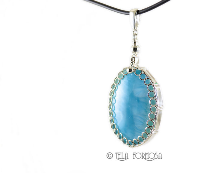 Rare BIG Larimar Jewelry Sterling Silver Wire Wrapped Handmade ...