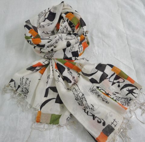 Abstract,Print,Silk,Wool,Off,White,Scarf/Wrap,Silk wool scarf, Stylish scarf, printed scarf, silk wool wrap
