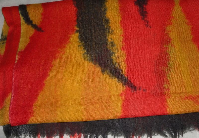 Multicolor Volcanic Lava Animal Print Silk Wool Scarf - product image