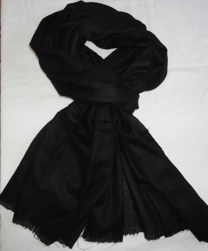 Solid Black Handspun Handwoven Loose Weave Pashmina Stole - product image