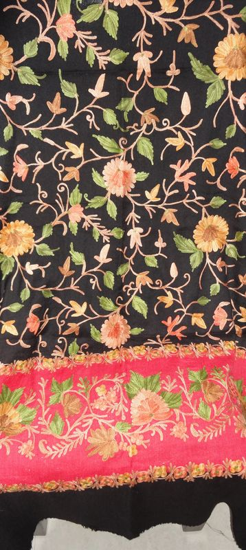 Black and Red Woollen Stole with Multicolor Floral Jaal in Aari Work - product image