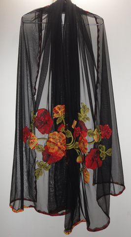 Black,Net,Scarf,with,Phool,Patti,Applique,and,Mukaish,work,black scarf, phool patti scarf, long scarf, black ne scarf, applique scarf, black wrap