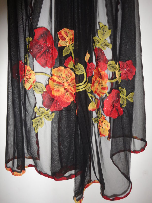 Black Net Scarf with Phool Patti Applique and Mukaish work - product image