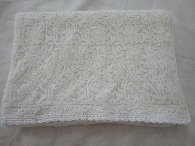 Timeless Chikankari Embroidered White on White Net Stole - product image