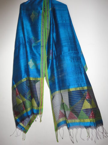 Peacock,Blue,Muslin,Jamdani,and,Handloom,Silk,Woven,Wrap/Shawl/Stole,Peacock blue shawl, silk wrap, weaver, karigar, jamdani, muslin, handloom silk stole