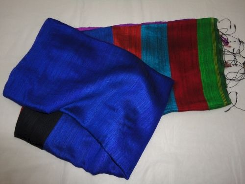 Blue Handloom Silk Saree with Multicolour Pallu and Black Blouse - product image