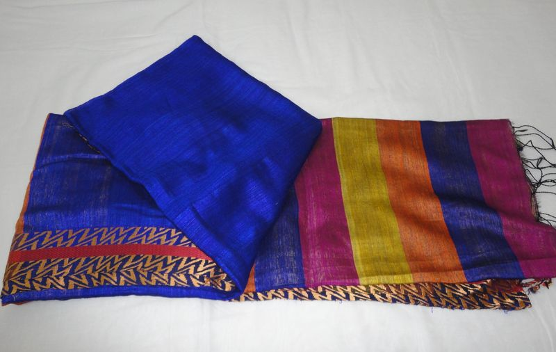Plain Blue Handloom Silk Saree with Multicolour Pallu and Golden Beige Blouse - product image