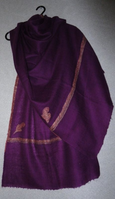 Purple Pure Pashmina Hand Embroidered Shawl - SOLD - product image