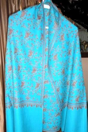 Turquoise Pashmina Shawl Hand Embroidered - Classic series - product image