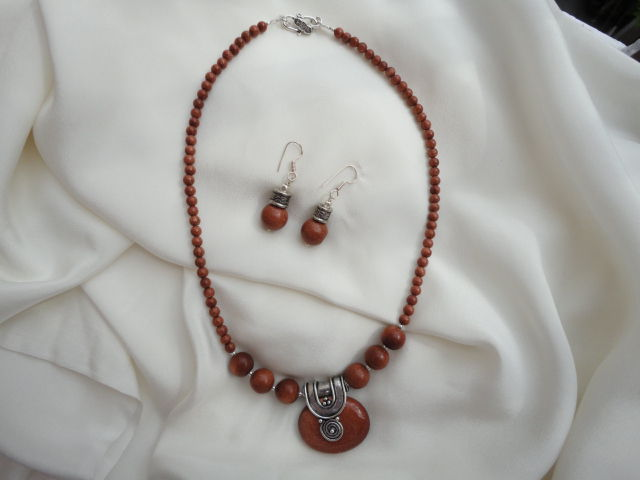 Sandstone Pendant Necklace and Earrings (SOLD) - product image