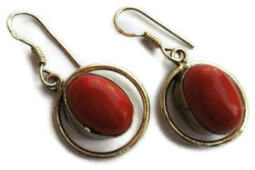 Blood Red Synthetic Coral Pendant and Drop Earrings - SOLD - product image