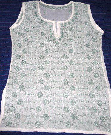 Sleeveless Cotton Top with Chikankari Hand Embroidery (SOLD) - product image