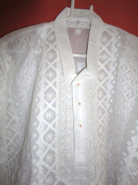 Mens Long Kurta Shirt in White on White Traditional Chikan Embroidery - product image