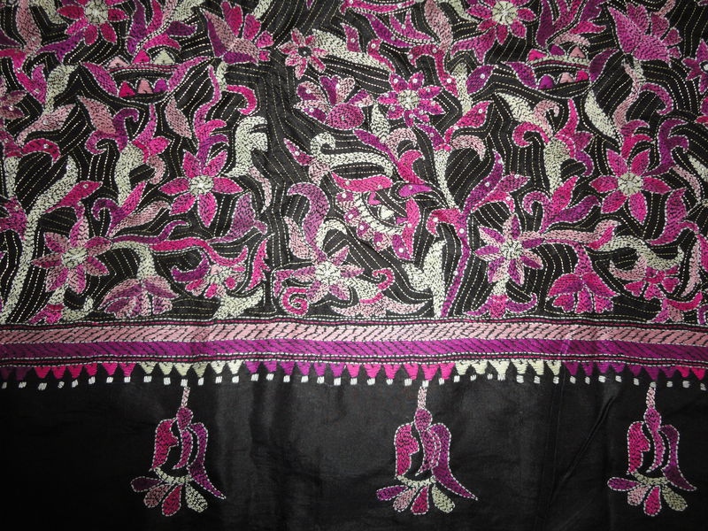 Black Banglorean Silk Kantha Saree with Sarvoski highlights - product image
